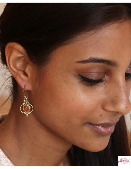 Boucle d'oreille pierre orange - Mosaik bijoux indiens