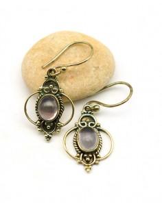 Boucle d'oreille quartz rose sur laiton - Mosaik bijoux indiens