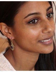 Boucle d'oreille améthyste dorée - Mosaik bijoux indiens 2