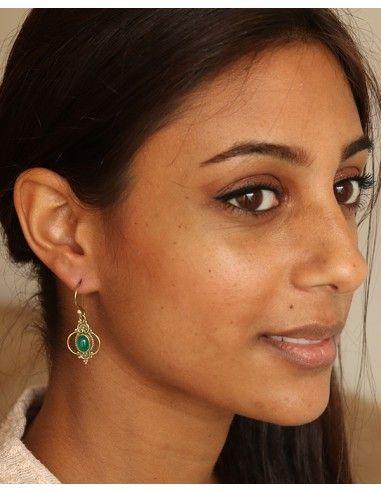 Boucle d'oreille agate verte en laiton - Mosaik bijoux indiens