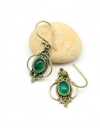 Boucle d'oreille pierre verte en laiton - Mosaik bijoux indiens