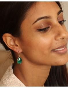Boucle d'oreille émeraude - Mosaik bijoux indiens 2