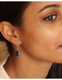 Boucle d'oreille pierre bleue en laiton - Mosaik bijoux indiens 2