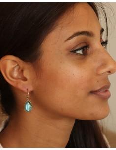 Boucle d'oreille labradorite goutte - Mosaik bijoux indiens 2