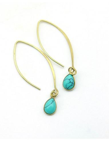 Boucle d'oreille fine et pierre turquoise - Mosaik bijoux indiens