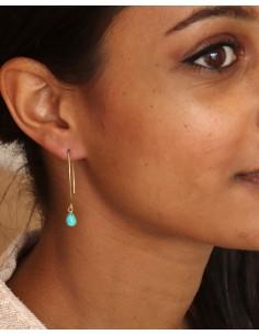 Boucle d'oreille fine et pierre turquoise - Mosaik bijoux indiens 2