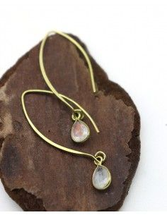 Boucle d'oreille fine laiton - Mosaik bijoux indiens