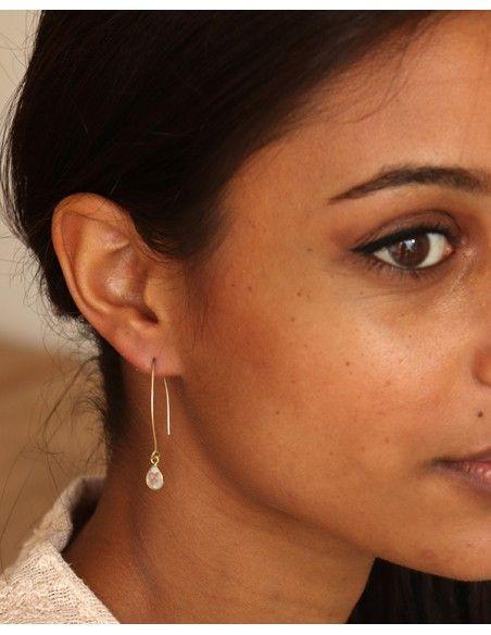 Boucle d'oreille dorée fine - Mosaik bijoux indiens