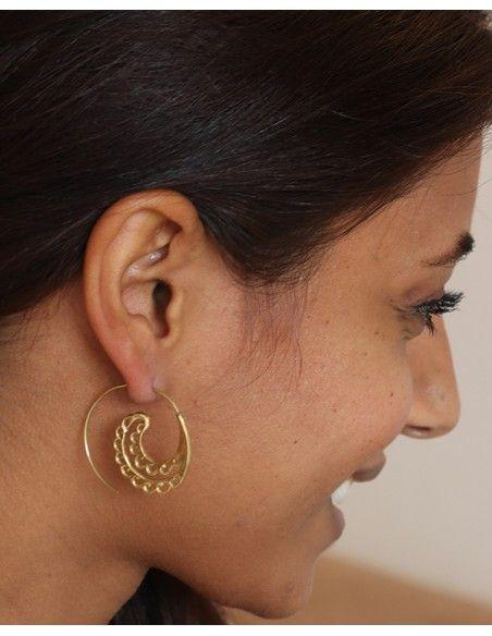 Créole spirale dorée - Mosaik bijoux indiens