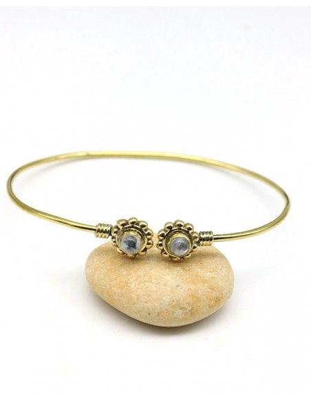 Jonc doré pierre de lune - Mosaik bijoux indiens