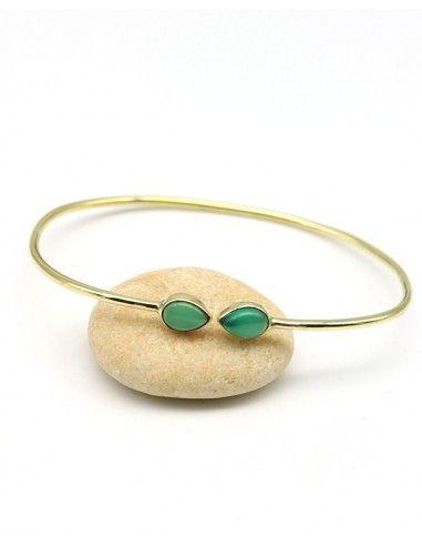 bracelet jonc doré et pierres vertes - Mosaik bijoux indiens