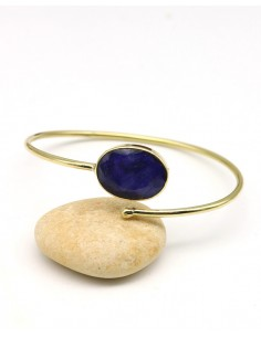 jonc doré et saphir bleu - Mosaik bijoux indiens