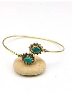 Bracelet laiton de turquoise - Mosaik bijoux indiens