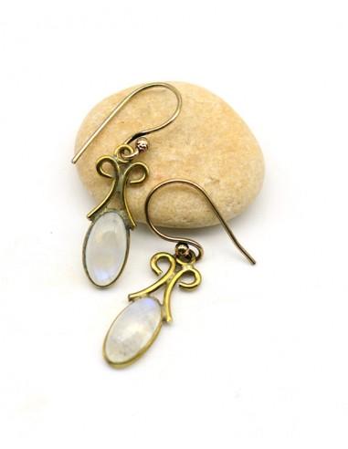 Boucle d'oreille pierre de lune dorée - Mosaik bijoux indiens