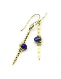 Boucle d'oreille lapis lazuli dorée - Mosaik bijoux indiens