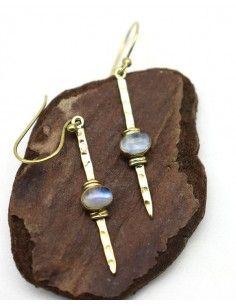 Boucle d'oreille pierre de lune - Mosaik bijoux indiens