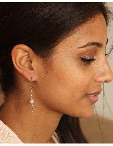 Boucle d'oreille laiton et pierres - Mosaik bijoux indiens