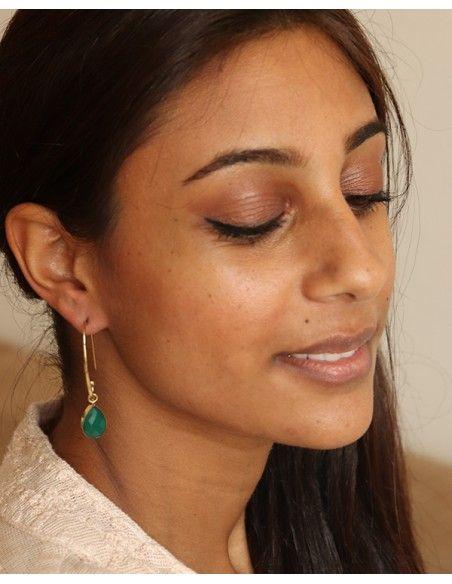 Boucle d'oreille stylisée pierre verte - Mosaik bijoux indiens