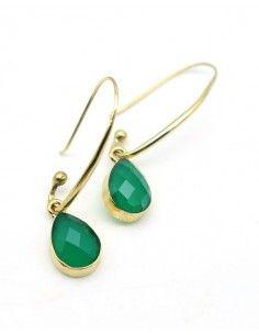 Boucle d'oreille pierre verte - Mosaik bijoux indiens