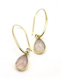Boucle d'oreille quartz rose en laiton - Mosaik bijoux indiens