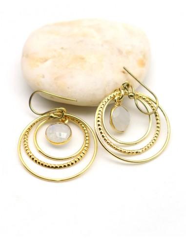 Boucle d'oreille laiton 3 anneaux - Mosaik bijoux indiens