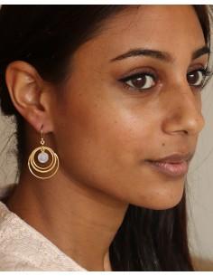Boucle d'oreille laiton 3 anneaux - Mosaik bijoux indiens 2