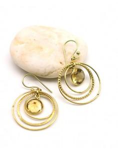 Boucle d'oreille citrine dorée - Mosaik bijoux indiens