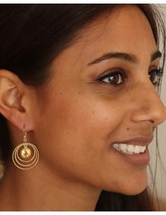 Boucle d'oreille citrine dorée - Mosaik bijoux indiens 2