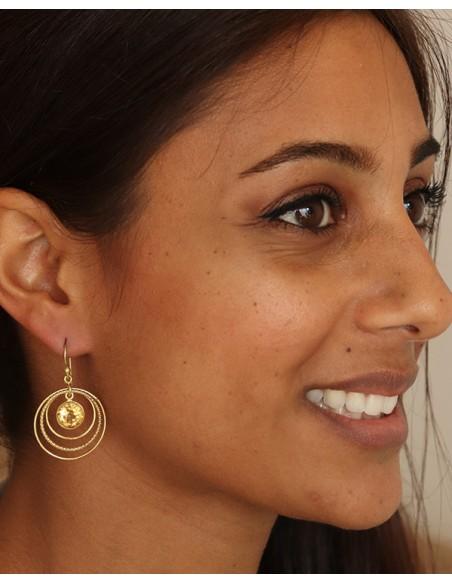 Boucle d'oreille pierre jaune - Mosaik bijoux indiens