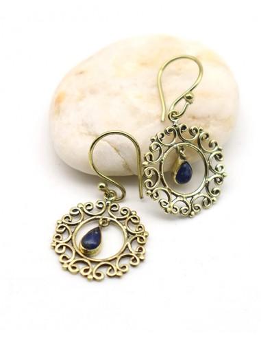 Boucle d'oreille dorée pierre bleue - Mosaik bijoux indiens