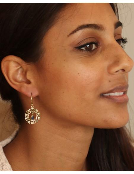 Boucle d'oreille dorée lapis - Mosaik bijoux indiens