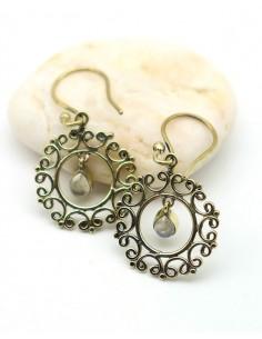Boucle d'oreille dorée pierre de lune - Mosaik bijoux indiens
