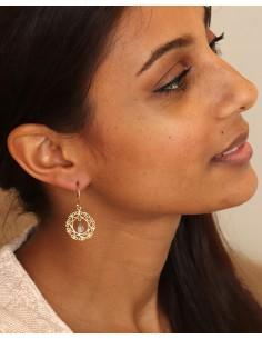 Boucle d'oreille dorée pierre de lune - Mosaik bijoux indiens 2