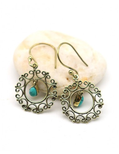 boucle d'oreille dorée et turquoise - Mosaik bijoux indiens