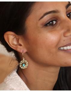 boucle d'oreille dorée et turquoise - Mosaik bijoux indiens 2