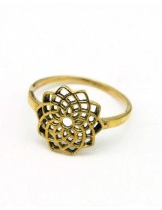 Bague dorée graine de vie - Mosaik bijoux indiens