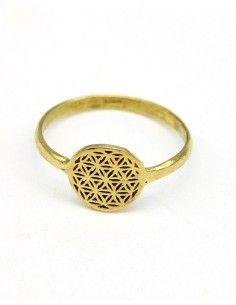 Bague fine fleur de vie dorée - Mosaik bijoux indiens