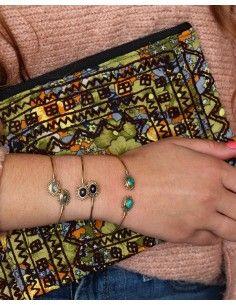 Jonc doré laiton et pierres - Mosaik bijoux indiens 2