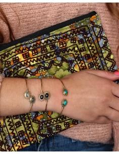 Bracelet laiton de turquoise - Mosaik bijoux indiens 2