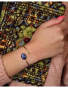jonc doré et saphir bleu - Mosaik bijoux indiens 2