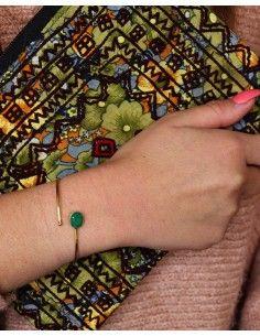 Jonc laiton et pierre verte - Mosaik bijoux indiens 2