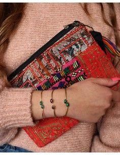 bracelet jonc doré et pierres vertes - Mosaik bijoux indiens 2