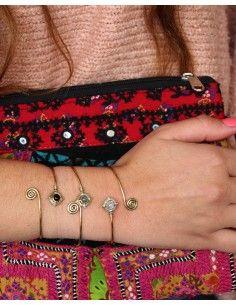 Jonc laiton et pierre noire - Mosaik bijoux indiens 2