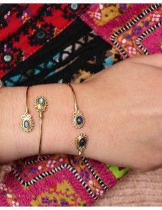 Jonc doré et lapis lazuli - Mosaik bijoux indiens 2