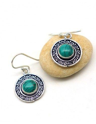 Boucle d'oreille ronde turquoise - Mosaik bijoux indiens