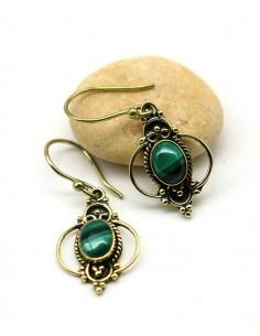 Boucle d'oreille malachite - Mosaik bijoux indiens