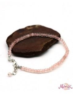 Bracelet quartz rose pierres taillées - Mosaik bijoux indiens 2