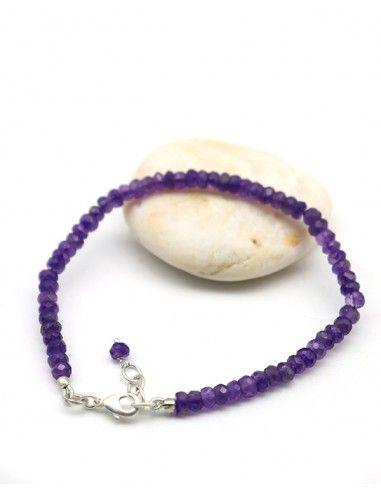 Bracelet améthyste taillée - Mosaik bijoux indiens