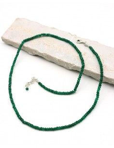 Collier émeraude pierres taillées - Mosaik bijoux indiens
