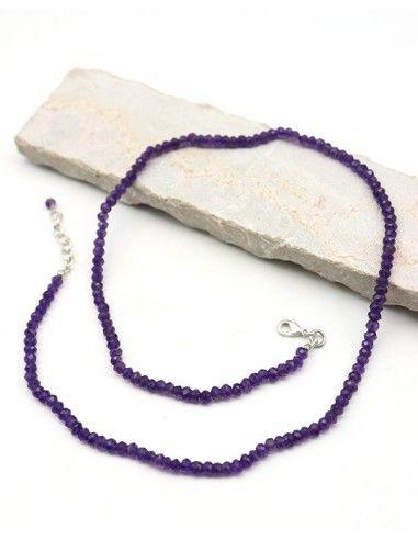 Collier améthyste pierres taillées - Mosaik bijoux indiens